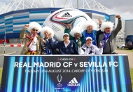 CARDIFF, WALES - Tuesday, August 12, 2014: Spanish supporters arrive at the stadium ahead of the UEFA Super Cup between Real Madrid and Sevilla at the Cardiff City Stadium. (Pic by David Rawcliffe/Propaganda)