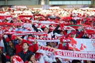 CARDIFF, WALES - Tuesday, August 12, 2014: Sevilla supporters before the UEFA Super Cup against Real Madrid at the Cardiff City Stadium. (Pic by David Rawcliffe/Propaganda)