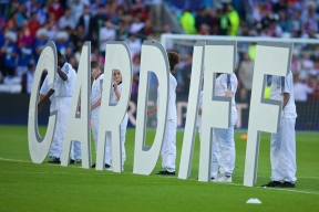 CARDIFF, WALES - Tuesday, August 12, 2014: Dancers perform during the opening ceremony ahead of the UEFA Super Cup at the Cardiff City Stadium. (Pic by David Rawcliffe/Propaganda)