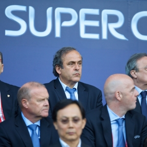 CARDIFF, WALES - Tuesday, August 12, 2014: UEFA president Michel Platini ahead of the UEFA Super Cup at the Cardiff City Stadium. (Pic by David Rawcliffe/Propaganda)
