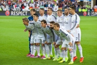 CARDIFF, WALES - Tuesday, August 12, 2014: Real Madrid players line up for a team group photograph before the UEFA Super Cup at the Cardiff City Stadium. Back row L-R: goalkeeper Iker Casillas, Sergio Ramos, Pepe, Toni Kroos, Karim Benzema, Cristiano Ronaldo. Front row L-R: Fabio Coentrao, James Rodriguez, Gareth Bale, Daniel Carvajal, Luka Modric. (Pic by David Rawcliffe/Propaganda)