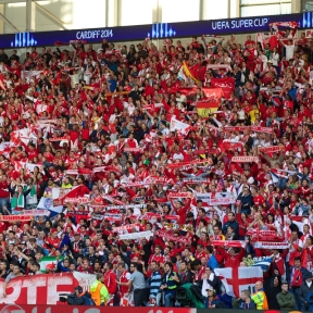 CARDIFF, WALES - Tuesday, August 12, 2014: Sevilla supporters ahead of the UEFA Super Cup at the Cardiff City Stadium. (Pic by David Rawcliffe/Propaganda)