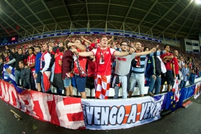 CARDIFF, WALES - Tuesday, August 12, 2014: Sevilla supporters during the UEFA Super Cup against Real Madrid at the Cardiff City Stadium. (Pic by David Rawcliffe/Propaganda)